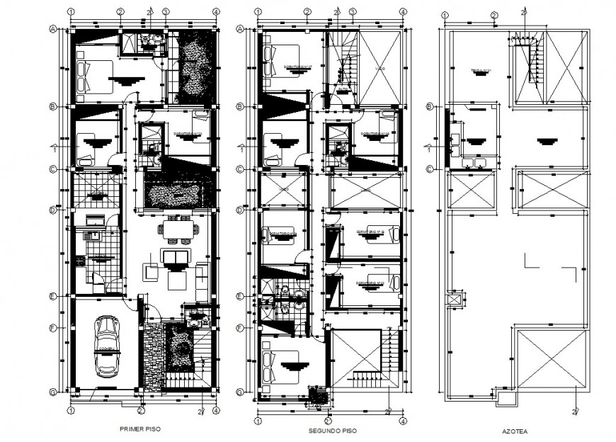 First and second floor plan with roof plan of house in auto cad