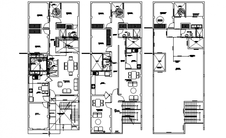 First and second floor plan with roof top plan for house in AutoCAD