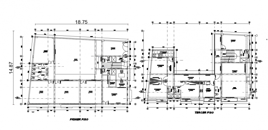 First and third floor distribution plan of apartment building dwg file