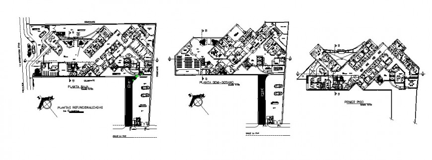 First floor, second floor and third floor layout plan details of security university dwg file