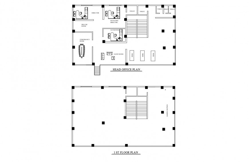 First floor and head office distribution plan details of corporate building dwg file