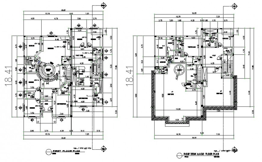 First floor and roof desk terrace floor plan details of residential villa dwg file