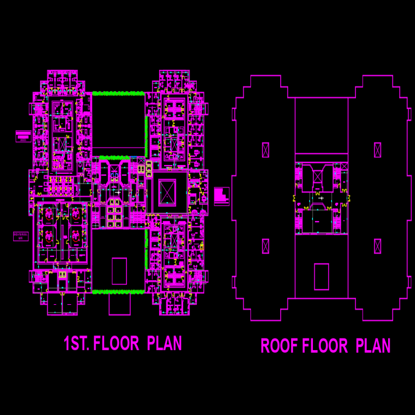 First floor and roof Hospital plan dwg file