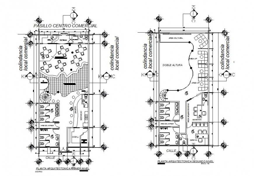 First floor and second floor distribution plan details of local restaurant dwg file