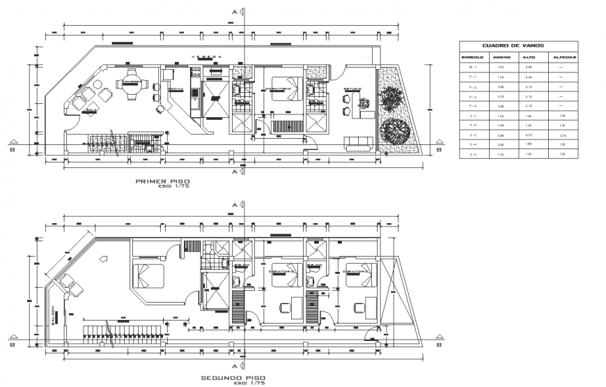 First floor and second floor house interior layout plan in dwg AutoCAD file.
