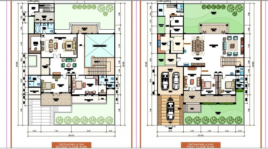 First floor and second floor plan details of one family house dwg file
