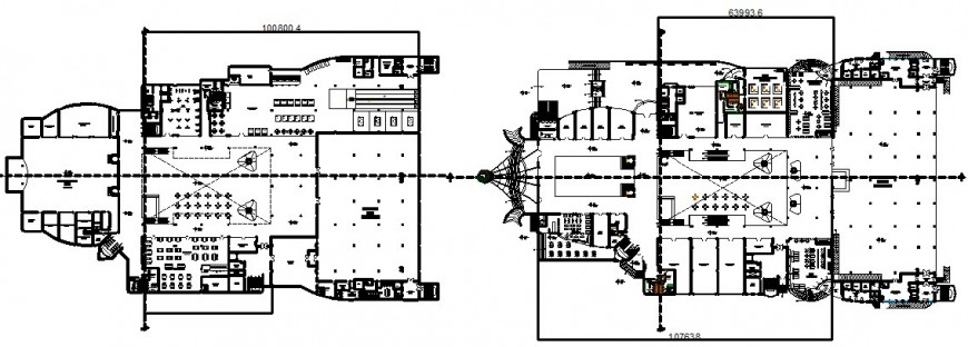 first floor and second floor shopping mall cad file