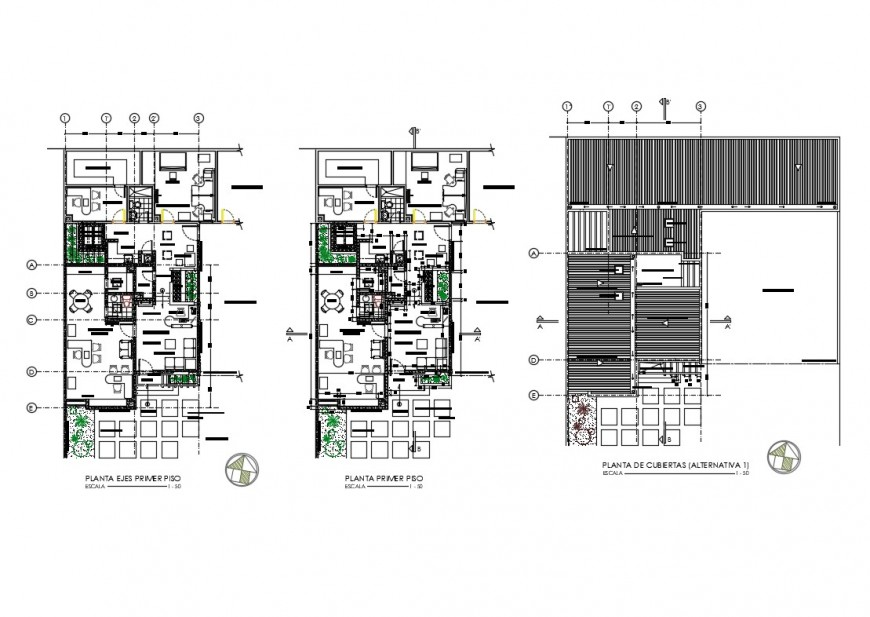 First floor and tarrace plan details of corporate building dwg file