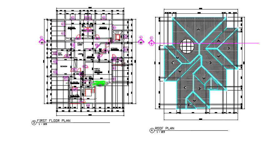 First floor architectural and roof pland detail dwg file