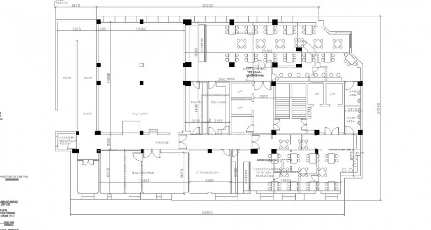 First floor distribution layout plan details of admin office building dwg file