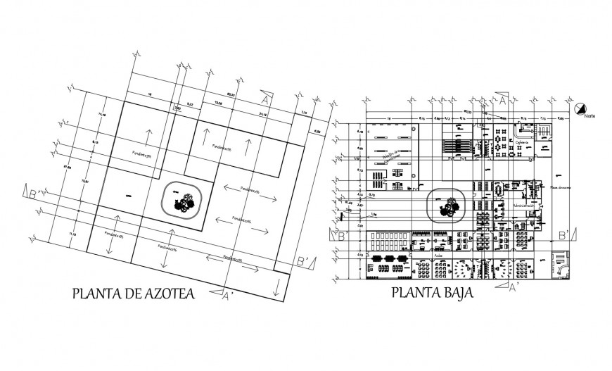 First floor distribution layout plan details of college building dwg file