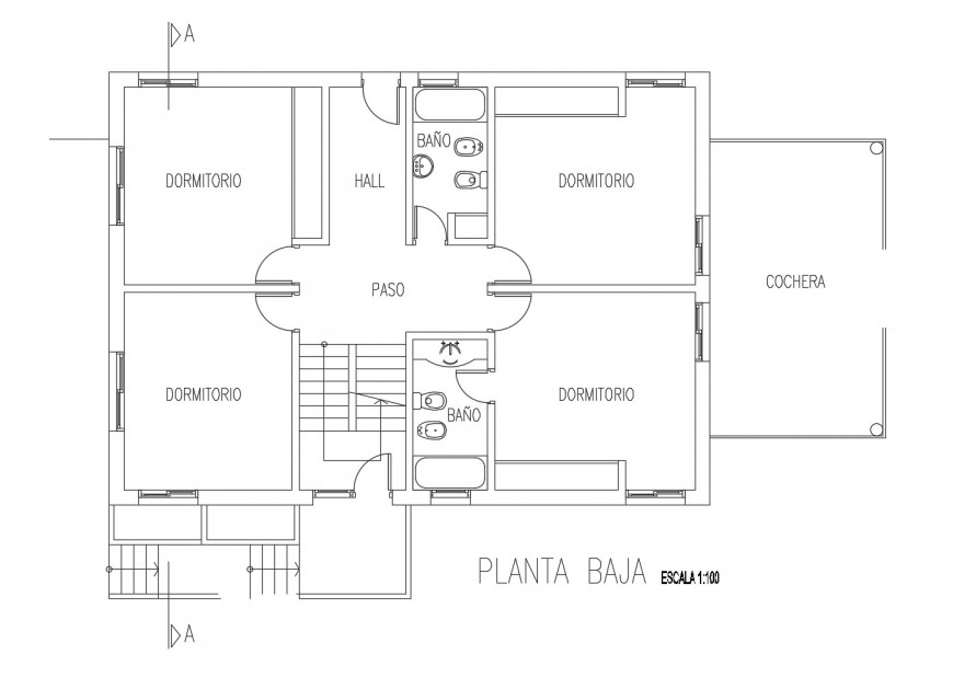 First floor distribution layout plan for single family house dwg file