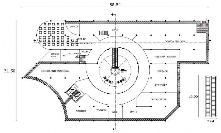 First floor distribution plan details of engineering drawing details dwg file