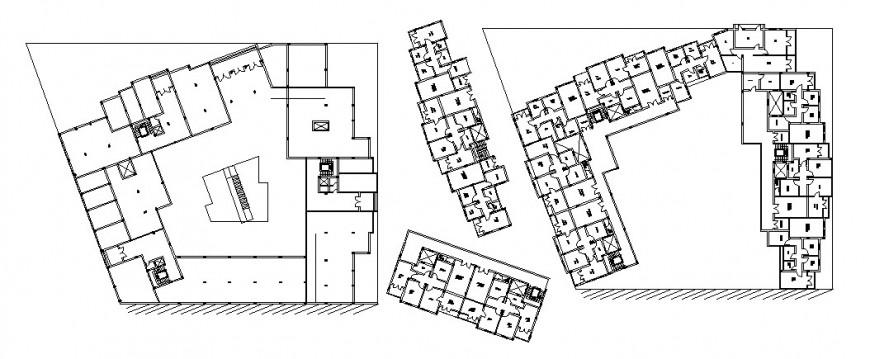 First floor distribution plan details of multi-familiar apartment building dwg file