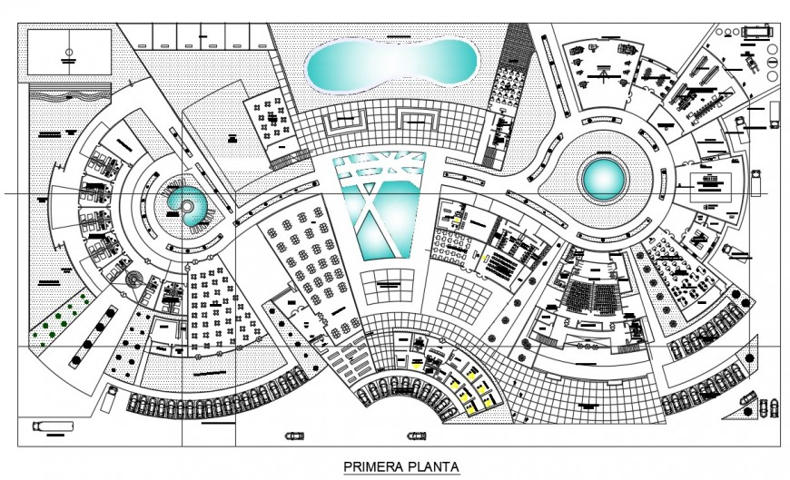 First floor distribution plan details of technology center office dwg file