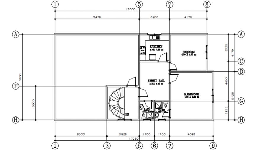 First floor distribution plan drawing details of villa dwg file