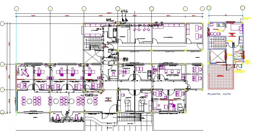 First floor distribution plan drawing details with furniture of hospital dwg file