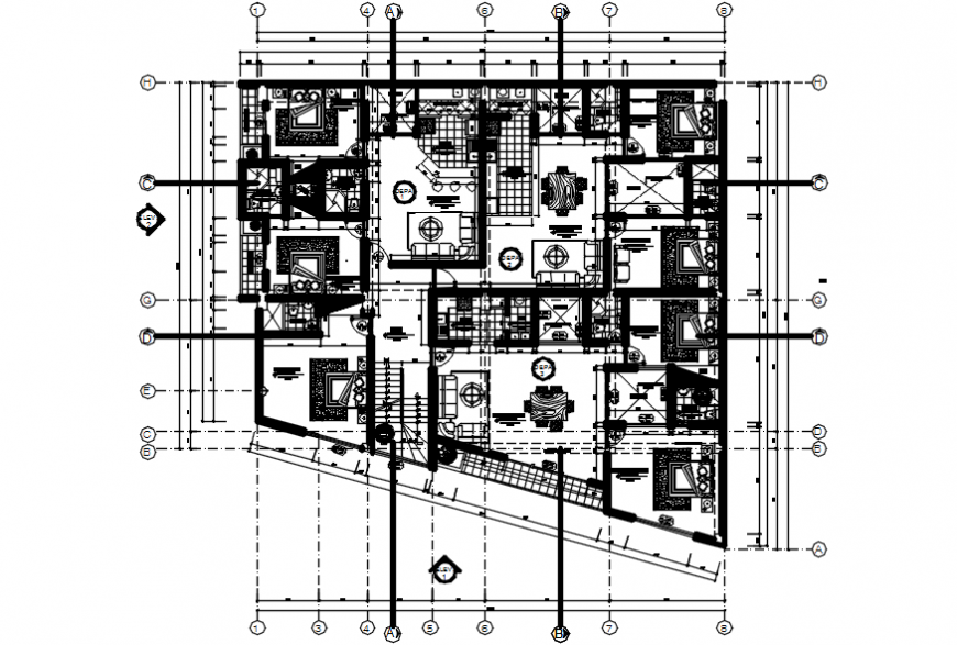 First floor distribution plan of apartment building dwg file