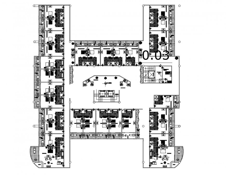 First floor distribution plan of five star luxuries hotel dwg file