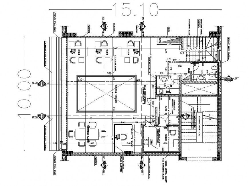 First floor distribution plan with furniture cad drawing details dwg file