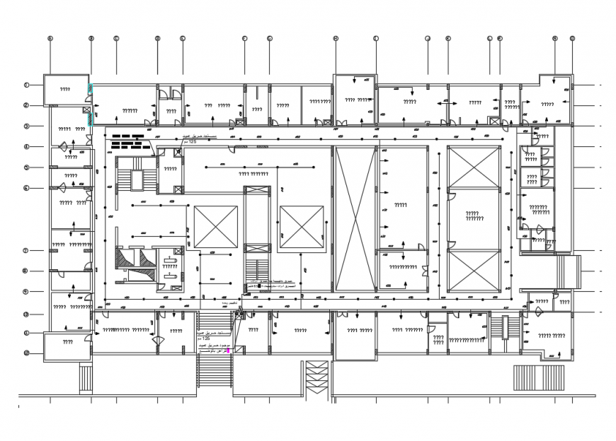 First floor framing plan details of corporate office building dwg file