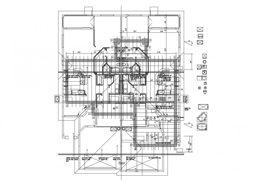 First floor framing plan structure details of residential house dwg file