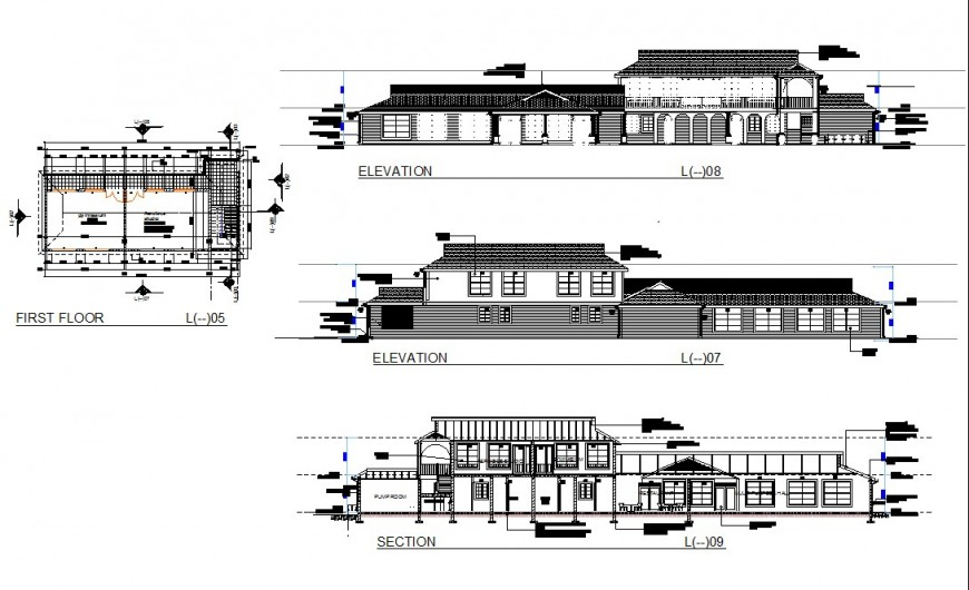 First floor house plan detail, elevation and section autocad file