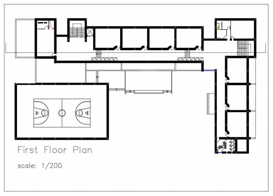 First Floor Lay-out design in DWG file