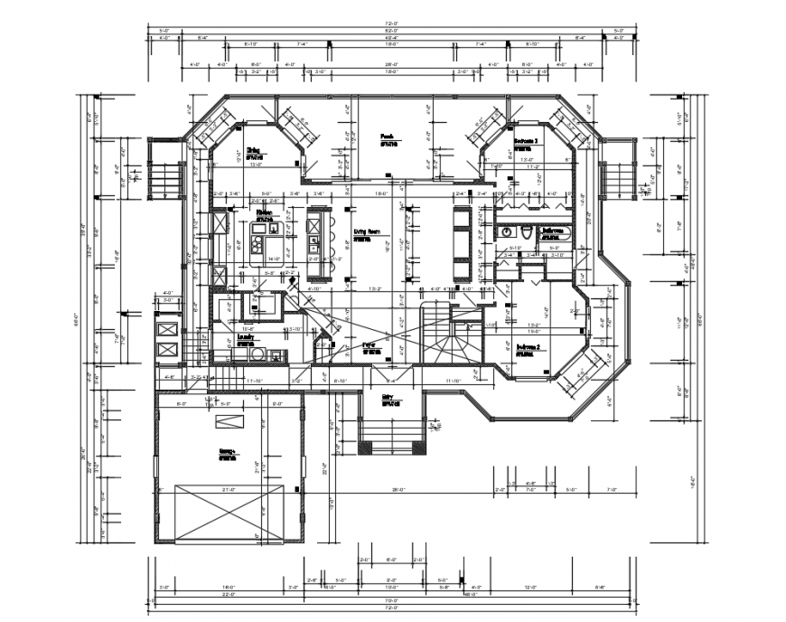 First floor layout plan details of house building dwg file