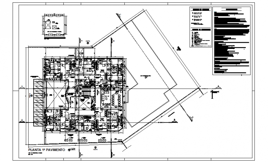 First floor layout plan details of multi-specialty hospital dwg file