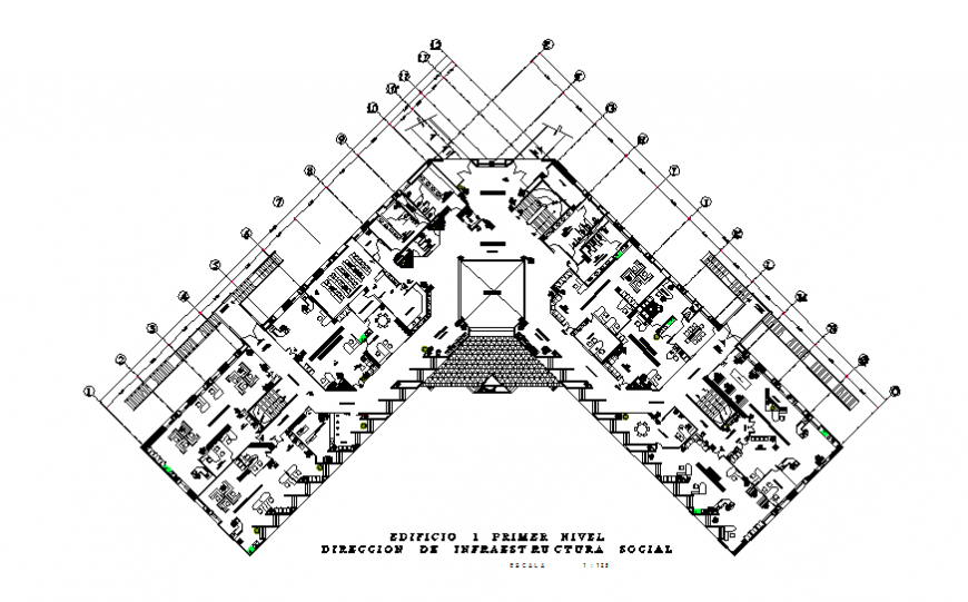 First floor layout plan details of office building cad drawing details dwg file