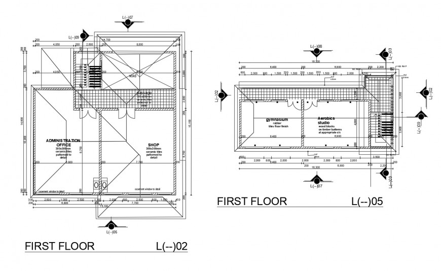 First floor layout plan details of small corporate office dwg file