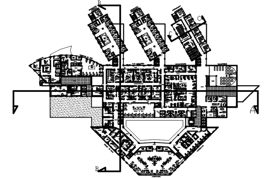 First floor layout plan drawing details of multi-story hospital dwg file