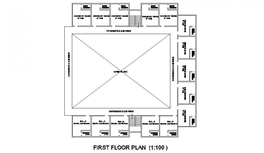 First floor motel planning detail dwg file