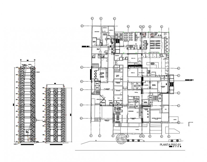 First floor plan and sectional details of corporate office building dwg file