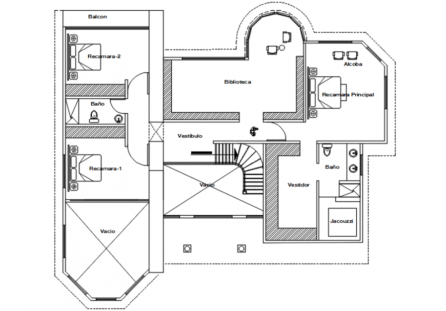 First floor plan of a house cad file