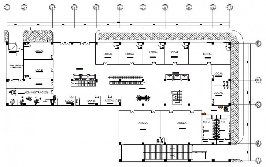First floor plan of hotel design in auto cad