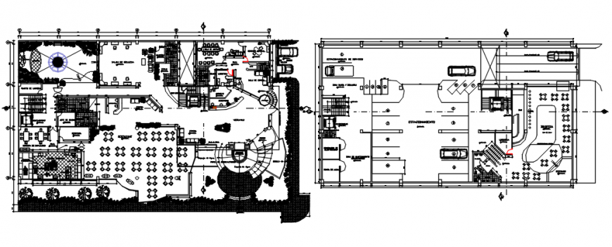 First floor plan with basement of hotel in auto cad file