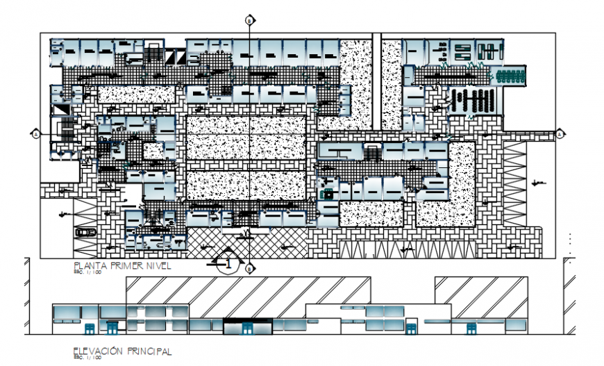 First floor plan with main elevation of hospital in auto cad software