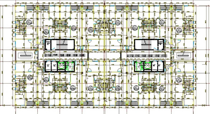 First floor plan with sanitary installation of toilets of office building dwg file