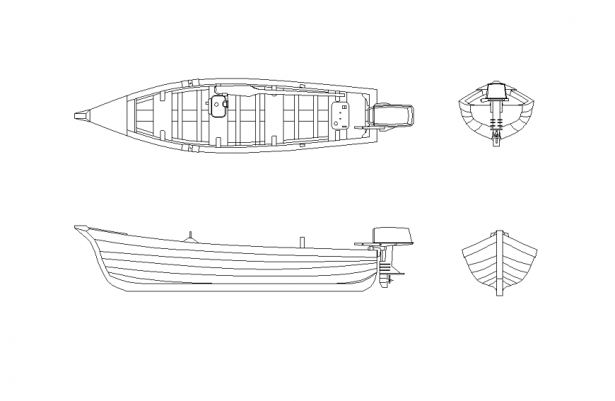 Fisherman boat design with plan and elevation view dwg file