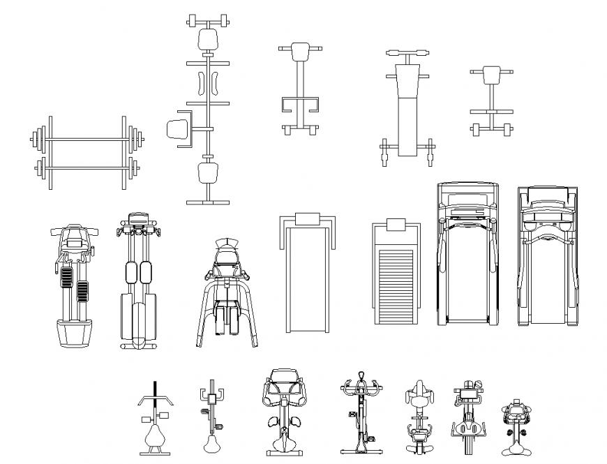 Fitness equipment design for Jim area dwg file