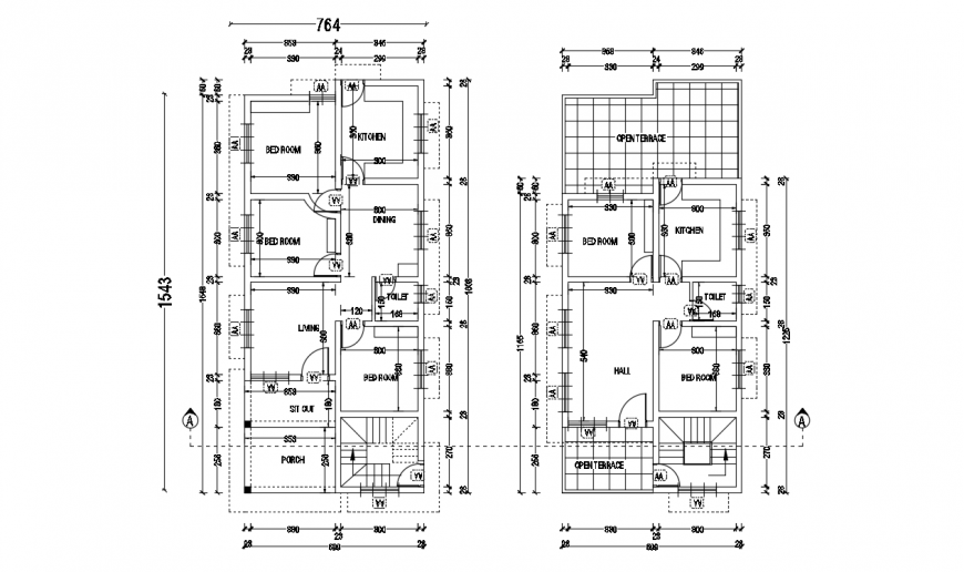 Five bedroom residential bungalow floor plan distribution details dwg file