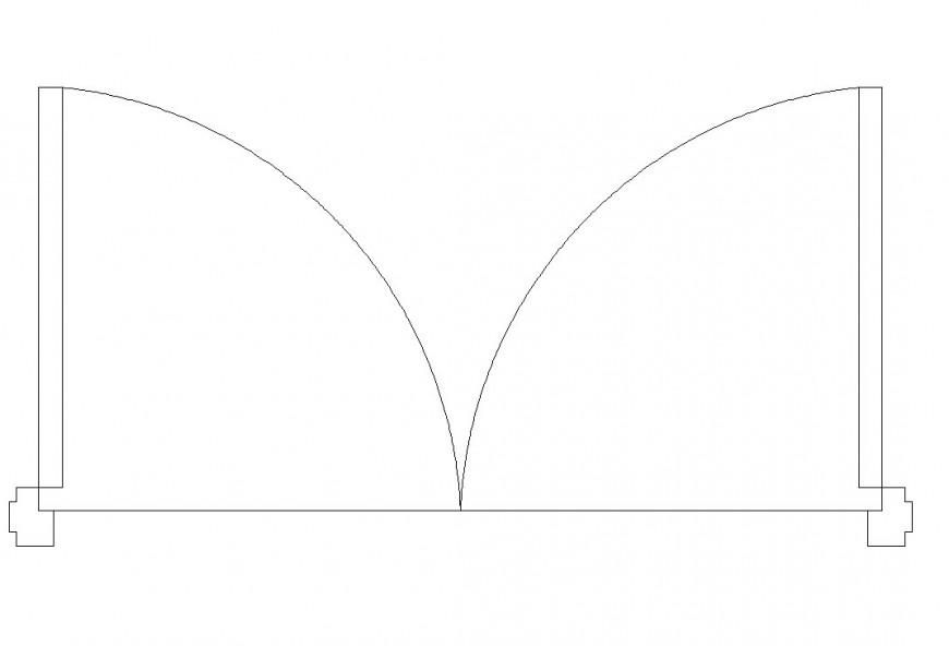 Five feat door block cad drawing details dwg file