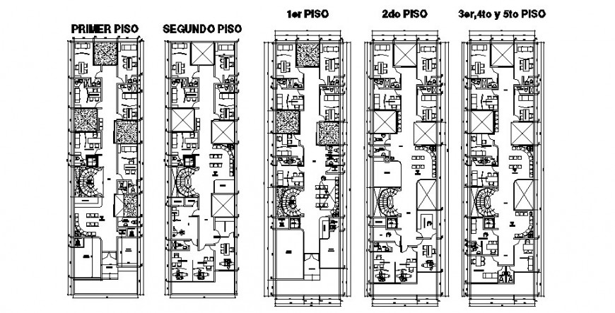 Five flooring residential building floor plan distribution cad drawing details dwg file