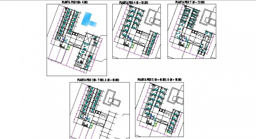 Five floors distribution layout plan details of las delicious hotel dwg file