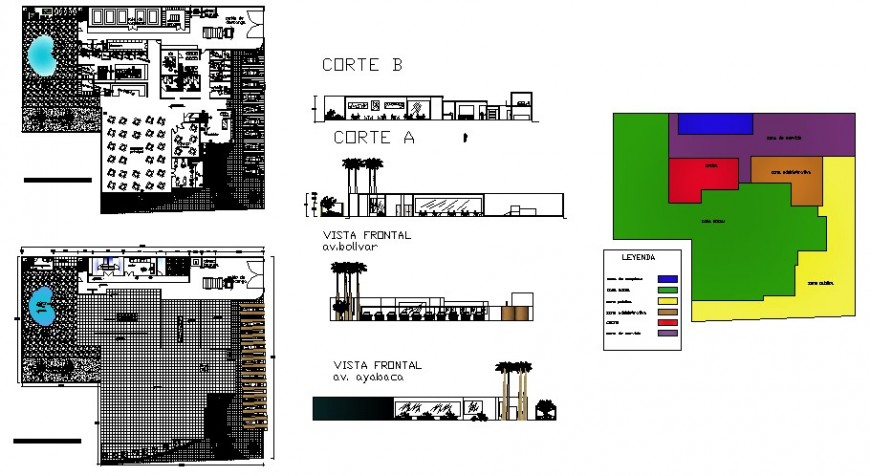 Five forks restaurant elevation, section and plan cad drawing details dwg file