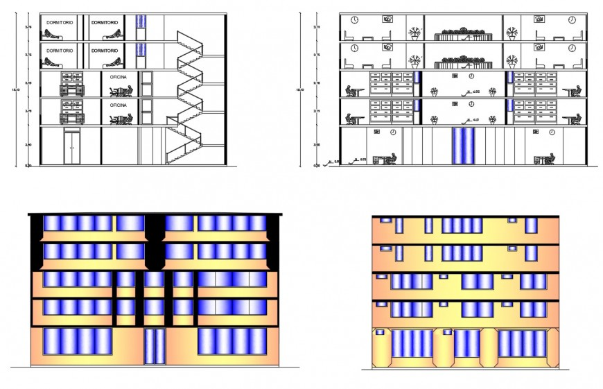 Five level commercial Centre building elevation and section in auto cad
