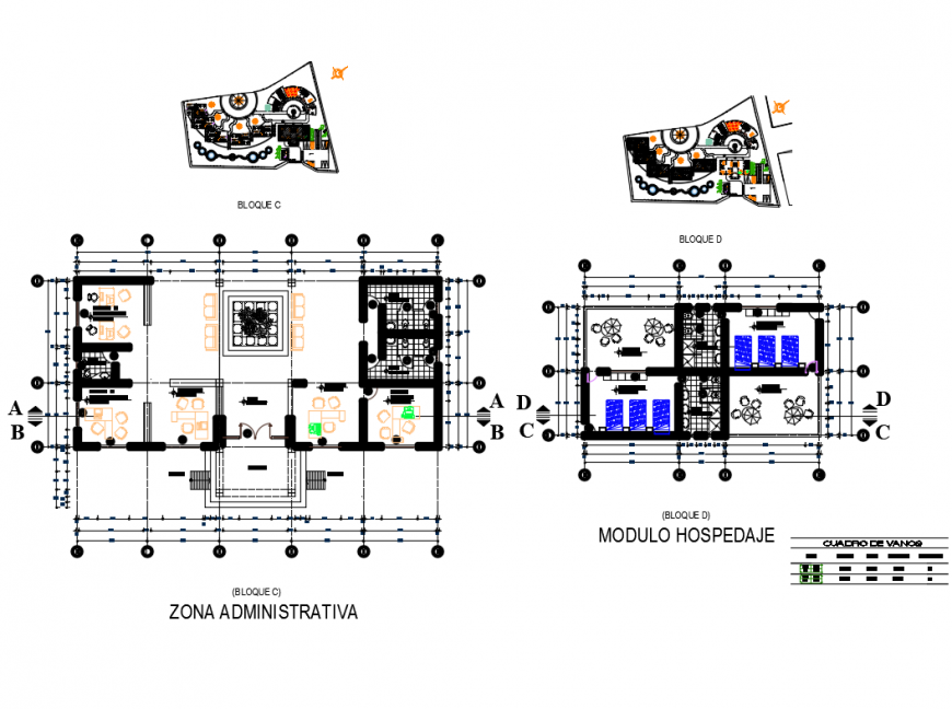 Five star hotel administrative department and departmental layout plan details dwg file