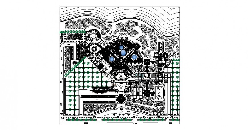 Five star hotel general planimetry layout plan cad drawing details dwg file